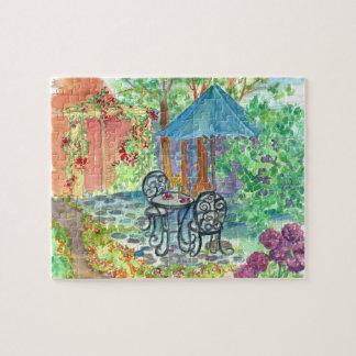 Pintura al aire libre del jardín de la acuarela de puzzle