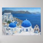 Pintura al óleo azul de la iglesia de Santorini Oi Posters