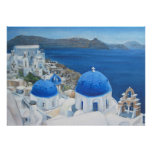 Pintura al óleo azul de la iglesia de Santorini Oi Póster