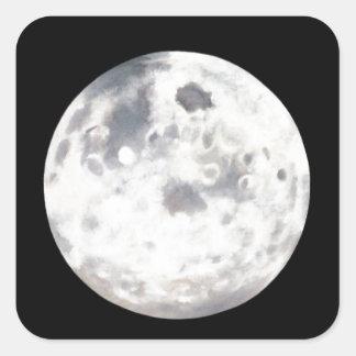 Pintura al óleo blanco y negro de la Luna Llena Calcomanía Cuadradas Personalizadas