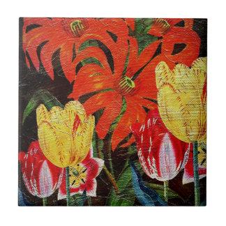 Pintura al óleo botánica anaranjada brillante del azulejo cuadrado pequeño