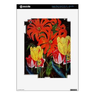 Pintura al óleo botánica anaranjada brillante del pegatina skin para iPad 3