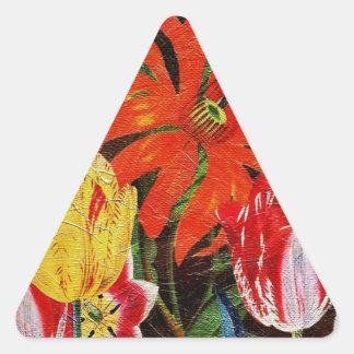 Pintura al óleo botánica anaranjada brillante del pegatina triangular