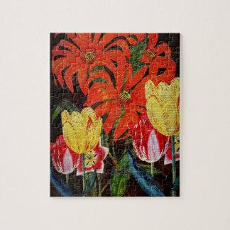 Pintura al óleo botánica anaranjada brillante del puzzle