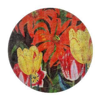 Pintura al óleo botánica anaranjada brillante del tabla de cortar