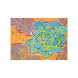 Pintura al óleo color de rosa azul impresión en lienzo