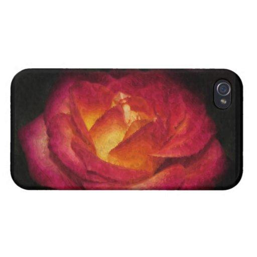 Pintura al óleo color de rosa llameante iPhone 4/4S funda