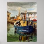 Pintura al óleo comercial del paisaje del barco de posters