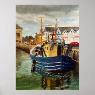 Pintura al óleo comercial del paisaje del barco de póster