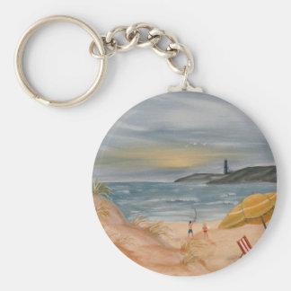 pintura al óleo costera del arte de la playa de la llaveros