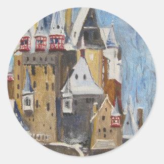 Pintura al óleo de Eltz del Burg Pegatina Redonda