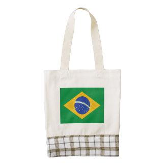 Pintura al óleo de la bandera del Brasil Bolsa Tote Zazzle HEART