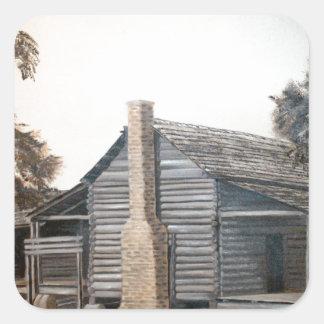 pintura al óleo de la cabaña de madera del granero pegatina cuadrada
