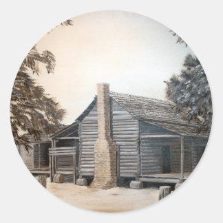 pintura al óleo de la cabaña de madera del granero pegatina redonda