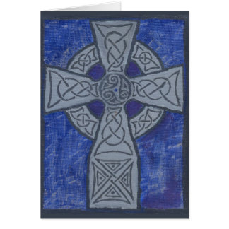 Pintura al óleo de la cruz céltica tarjeta de felicitación