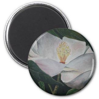 pintura al óleo de la flor de la magnolia imán redondo 5 cm