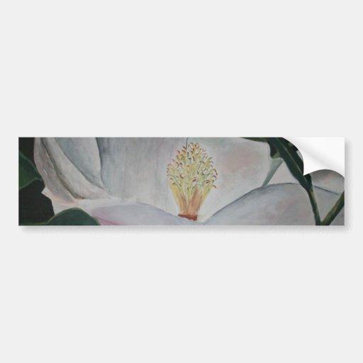 pintura al óleo de la flor de la magnolia pegatina para auto