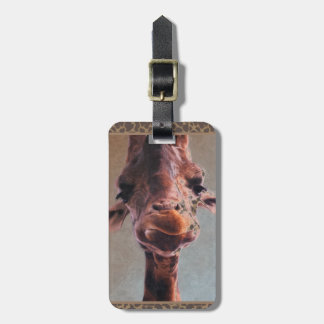 Pintura al óleo de la jirafa etiqueta para equipaje
