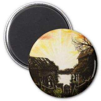 Pintura al óleo de la puesta del sol con los edifi imanes para frigoríficos