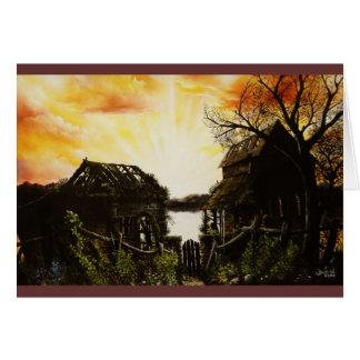 Pintura al óleo de la puesta del sol con los edifi tarjeta de felicitación