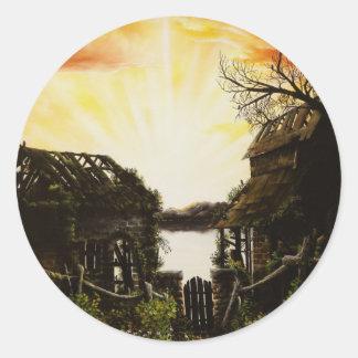 Pintura al óleo de la puesta del sol con los etiquetas redondas