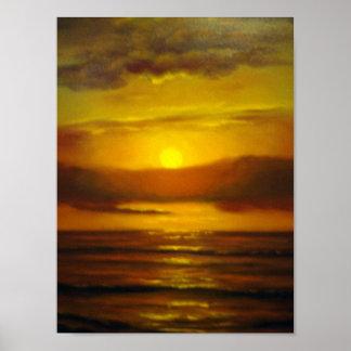Pintura al óleo de la puesta del sol impresiones