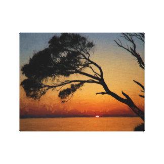 Pintura al óleo de la silueta del árbol de la impresión de lienzo