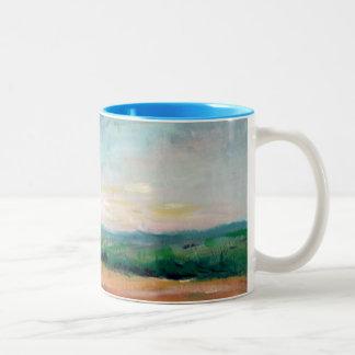 Pintura al óleo de la taza del paisaje