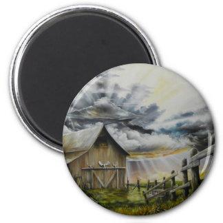 Pintura al óleo de la tormenta del verano imán de frigorifico