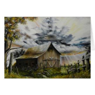 Pintura al óleo de la tormenta del verano tarjeta de felicitación