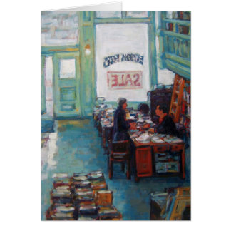 """Pintura al óleo de la venta de libros de Eureka"" Tarjeta Pequeña"