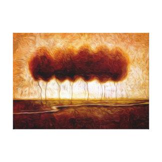 Pintura al óleo de los árboles del og de la trayec impresiones en lienzo estiradas
