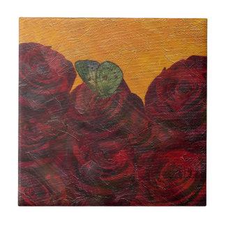 Pintura al óleo de los rosas del vintage azulejo cuadrado pequeño