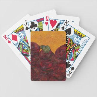 Pintura al óleo de los rosas del vintage cartas de juego