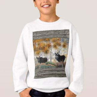 Pintura al óleo de madera de los alces del toro de poleras