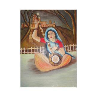 Pintura al óleo de Meera Bai en lona Lienzo Envuelto Para Galerías
