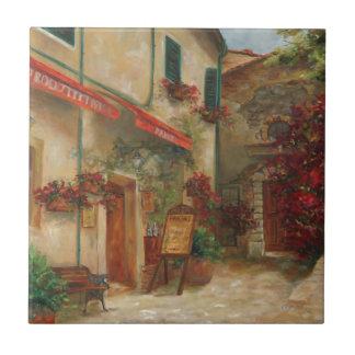 Pintura al óleo de Panini Cafe de Chris Brandley Azulejo Cuadrado Pequeño