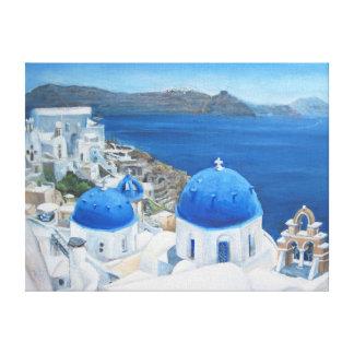 Pintura al óleo de Santorini Oia Impresión En Tela