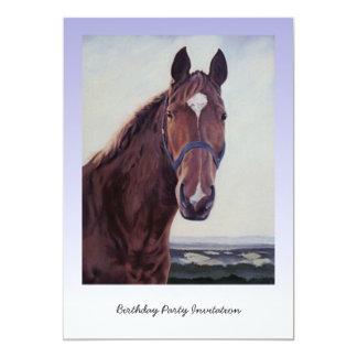 Pintura al óleo del caballo de la castaña invitación 12,7 x 17,8 cm
