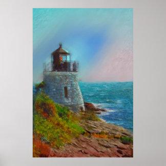 Pintura al óleo del faro de la colina del castillo póster