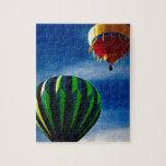 Pintura al óleo del globo del aire caliente rompecabeza con fotos