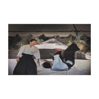 Pintura al óleo del karate del Aikido en lona envu Impresión En Lona
