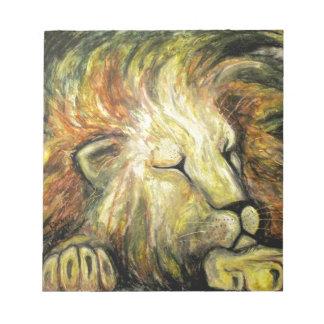 Pintura al óleo del león el dormir libretas para notas