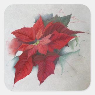Pintura al óleo del navidad del Poinsettia Pegatina Cuadrada