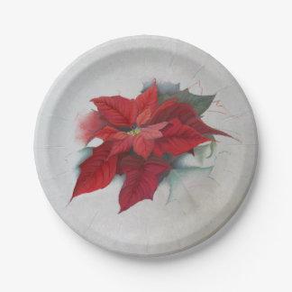 Pintura al óleo del navidad del Poinsettia Plato De Papel 17,78 Cm
