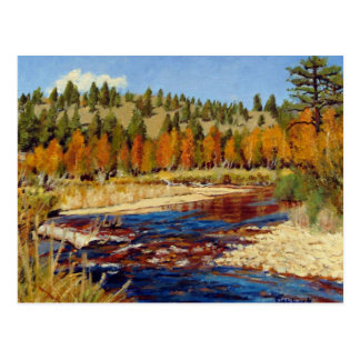 Pintura al óleo del paisaje de la corriente de la postal