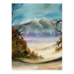 Pintura al óleo del paisaje de las montañas rocosa tarjetas postales