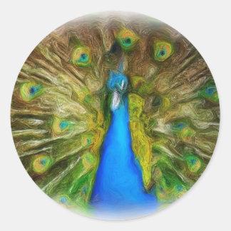 Pintura al óleo del pavo real pegatina redonda