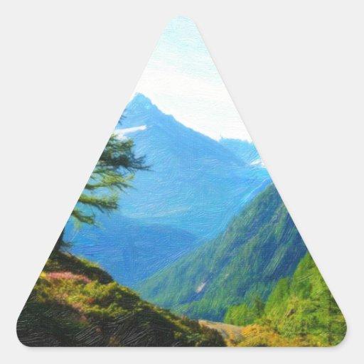 Pintura al óleo del rastro de la montaña calcomania de trianguladas