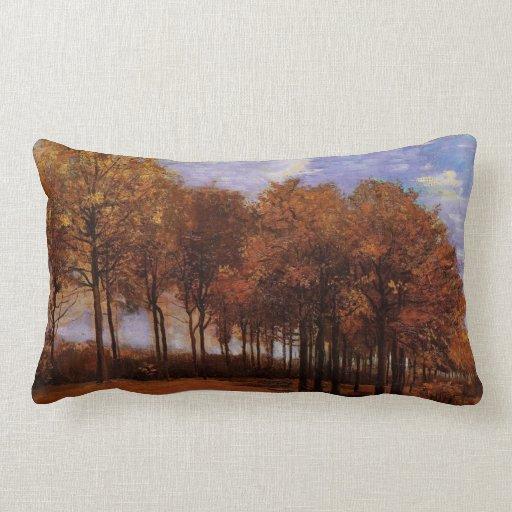 Pintura al óleo del vintage - paisaje del otoño cojin